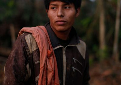 Gold miners work in the miner city of Lamal. The work took less than one month to destroy this part of the rain forest.