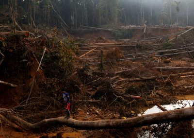 Illegal gold miners work in the miner city of Lamal. The work took less than one month to destroy this part of the rain forest.