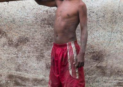 Miner Romario Cespedes, 14, at camp.